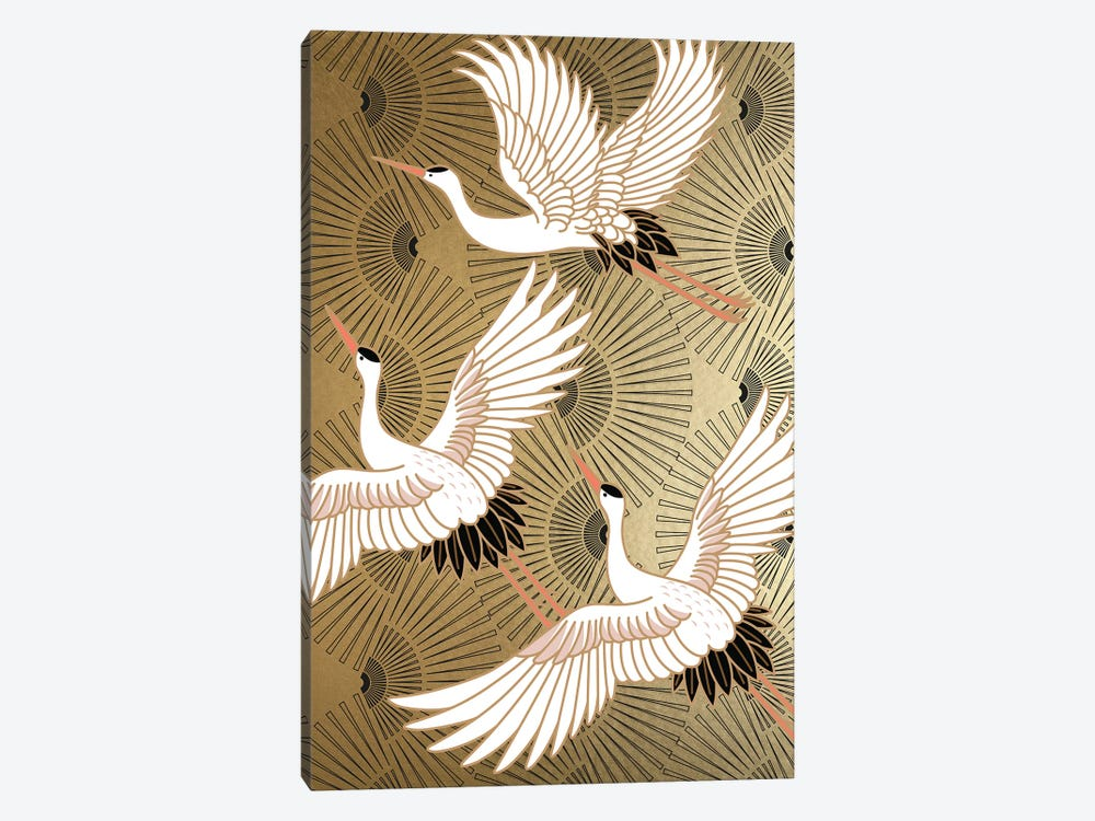 Crane Japenese II by Nikki Chu 1-piece Canvas Artwork