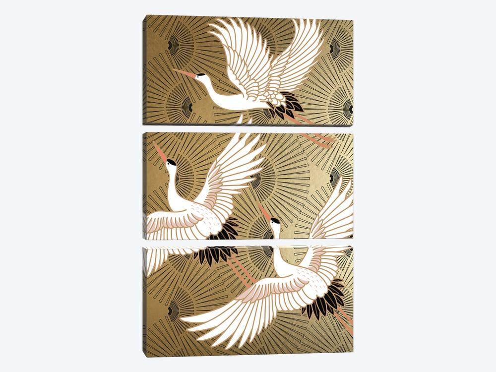 Crane Japenese II by Nikki Chu 3-piece Canvas Artwork