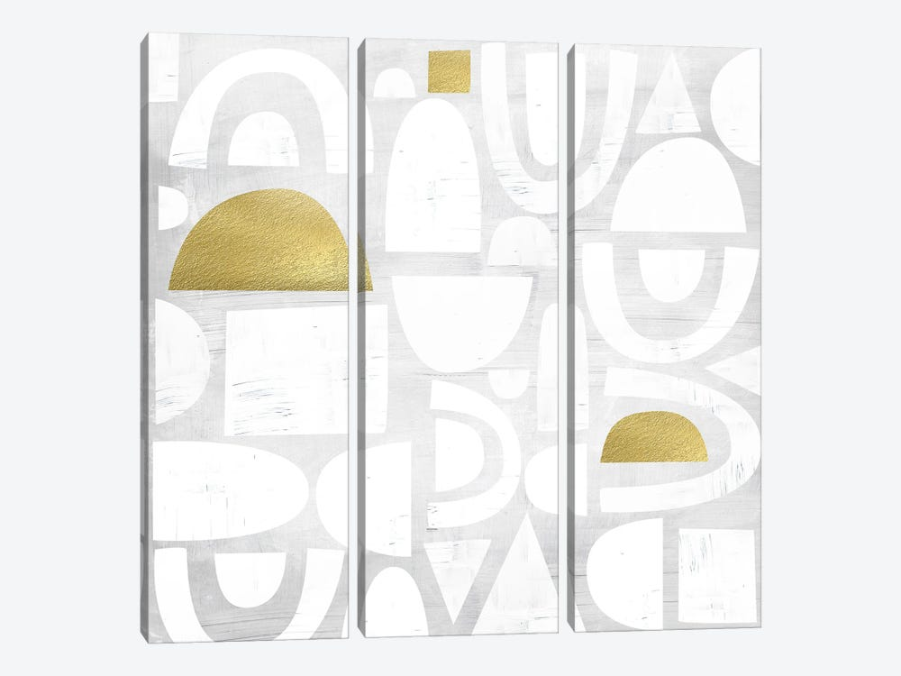 Gold Code I by Nikki Chu 3-piece Canvas Artwork