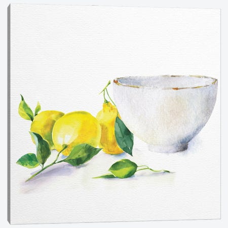 Lemon Bowl 3-Piece Canvas #NKK47} by Nikki Chu Canvas Print