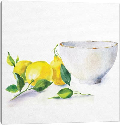 Lemon Bowl Canvas Art Print