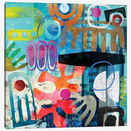 Tribal Abstract Blue Canvas Print #NKK78} by Nikki Chu Art Print