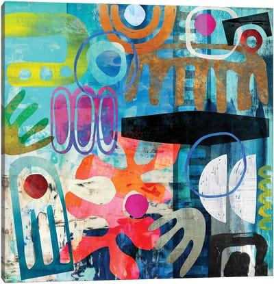 Tribal Abstract Blue Canvas Art Print