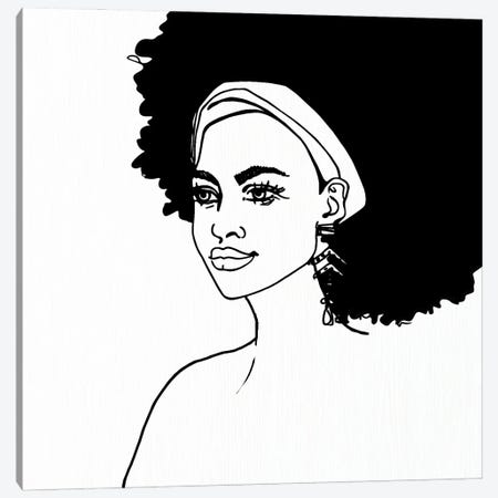 Afro Girl Canvas Print #NKK86} by Nikki Chu Canvas Print