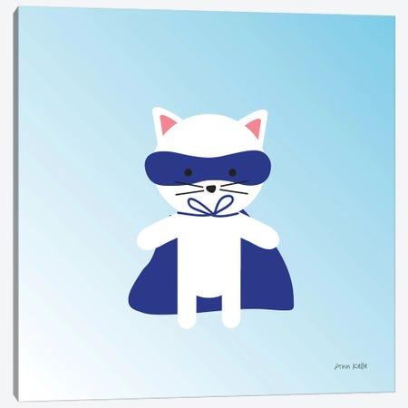 Cat Super Hero Canvas Print #NKL10} by Ann Kelle Canvas Wall Art