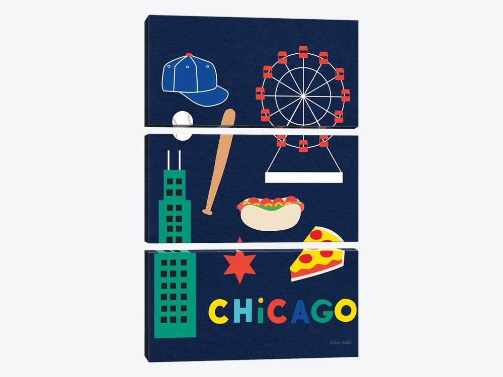 City Fun Chicago by Ann Kelle 3-piece Canvas Wall Art