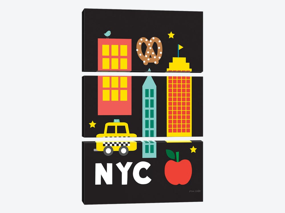 City Fun NYC by Ann Kelle 3-piece Canvas Artwork