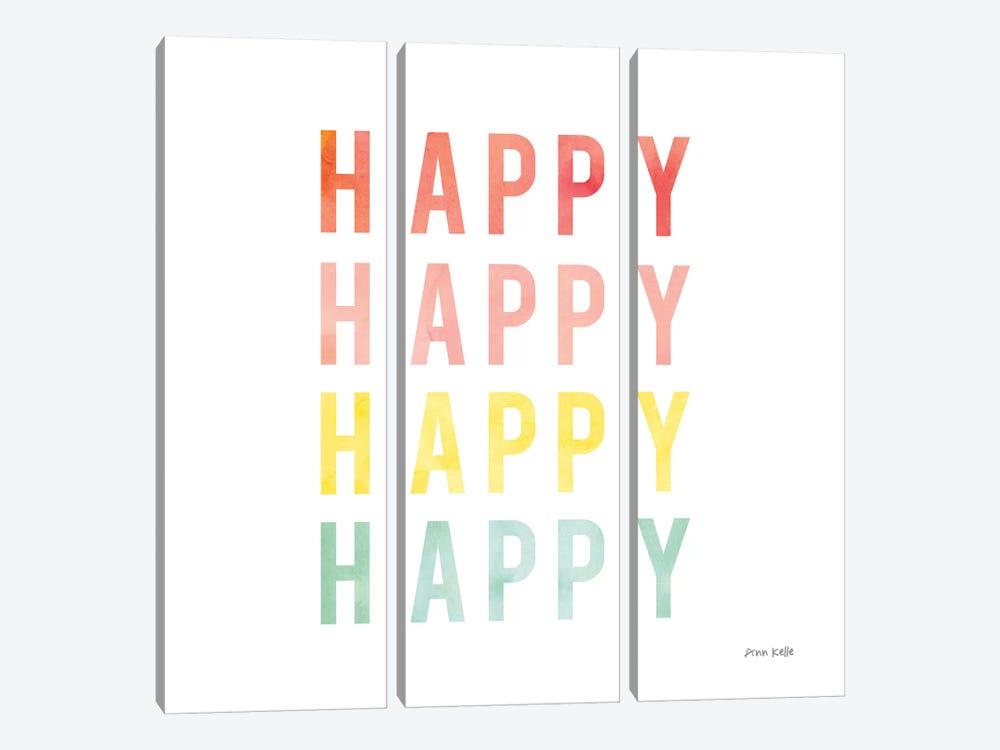 Happy Happy by Ann Kelle 3-piece Canvas Art Print