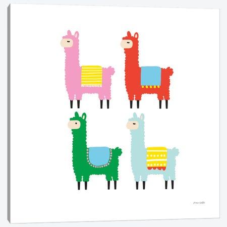 The Llamas 3-Piece Canvas #NKL82} by Ann Kelle Canvas Print
