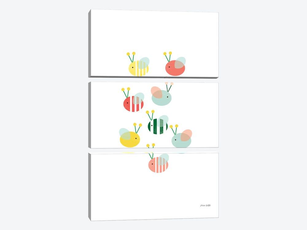 Bumblebee Friends by Ann Kelle 3-piece Canvas Print