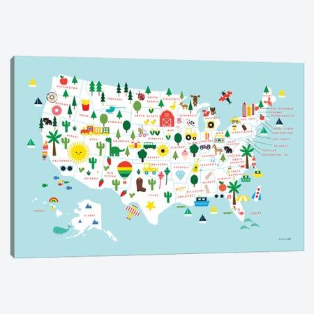 Fun USA Map Canvas Print #NKL97} by Ann Kelle Art Print