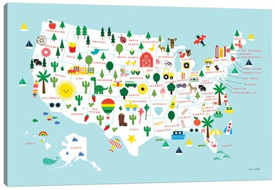 Fun USA Map Canvas Art Print