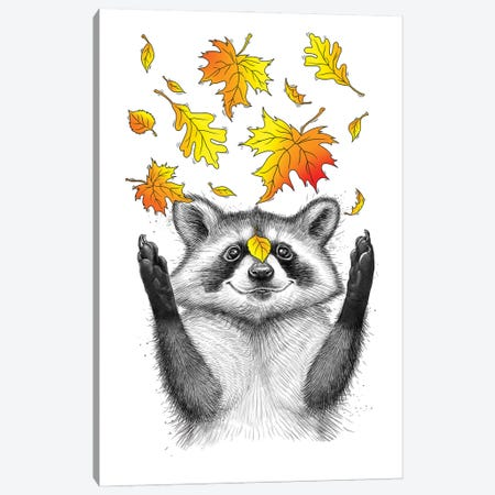 Autumn Raccoon Canvas Print #NKV10} by Nikita Korenkov Canvas Wall Art