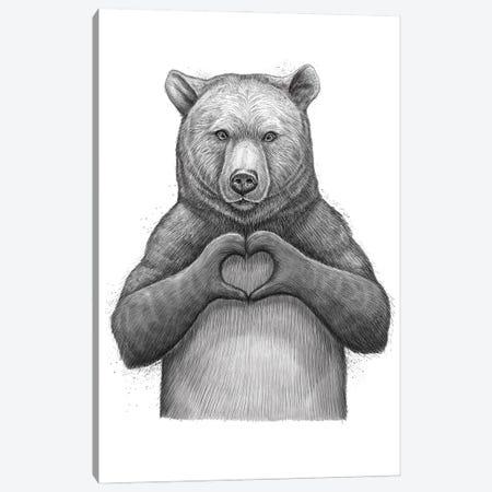 Bear With Love Canvas Print #NKV14} by Nikita Korenkov Canvas Print
