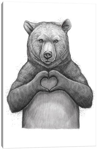 Bear With Love Canvas Art Print