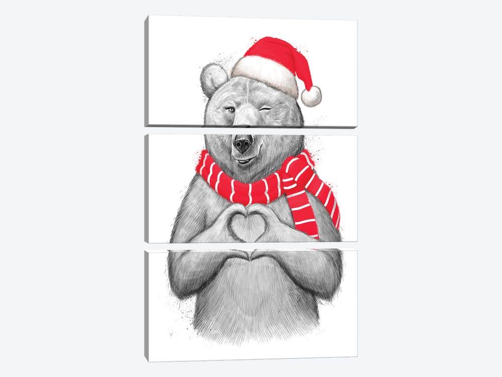 Christmas Bear I by Nikita Korenkov 3-piece Canvas Art Print