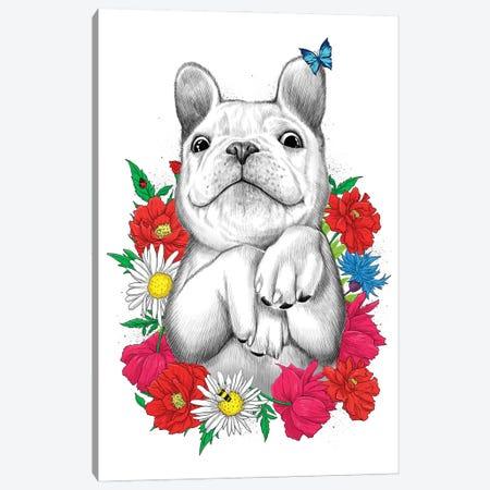 Dog In Flowers Canvas Print #NKV28} by Nikita Korenkov Art Print