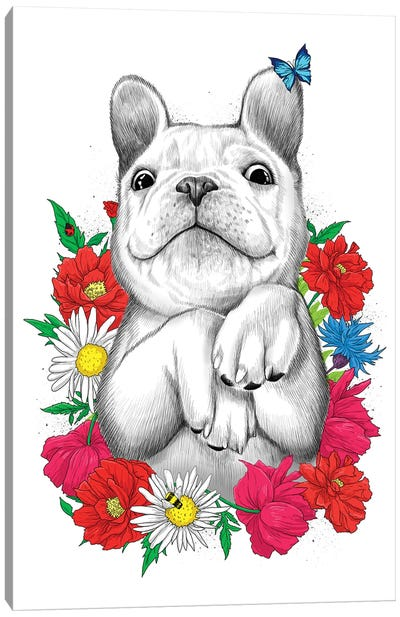 Dog In Flowers Canvas Art Print