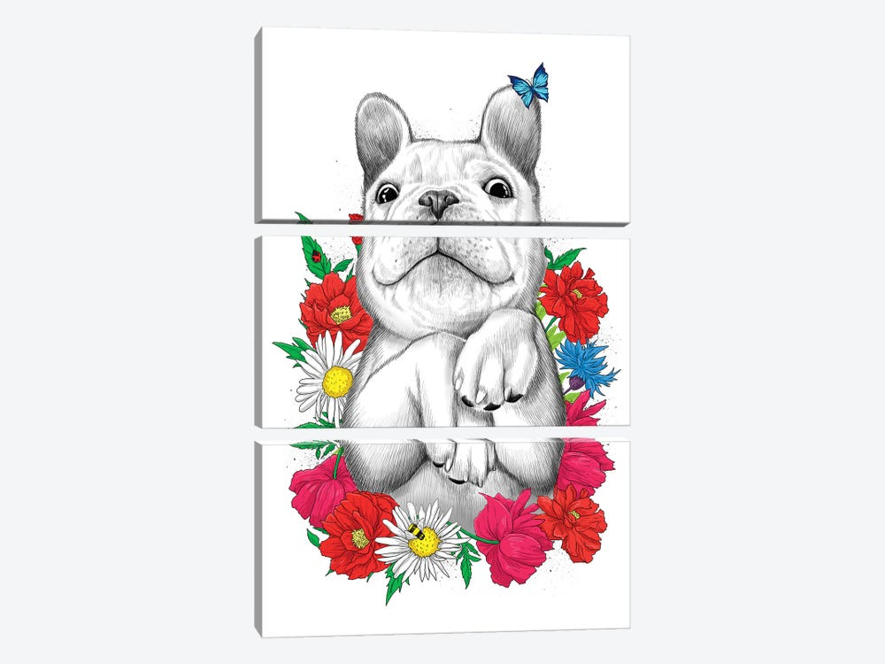 Dog In Flowers by Nikita Korenkov 3-piece Canvas Art Print