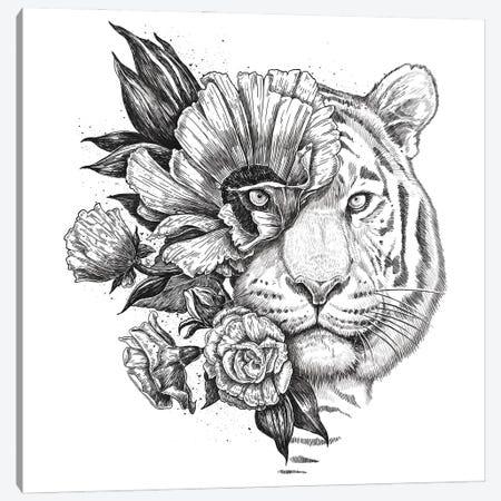 Floral Tiger Canvas Print #NKV29} by Nikita Korenkov Canvas Print