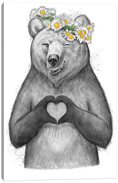 Girl Bear With Heart Canvas Art Print