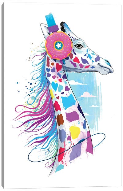 Giraffe In The Headphones Of Donuts Canvas Art Print