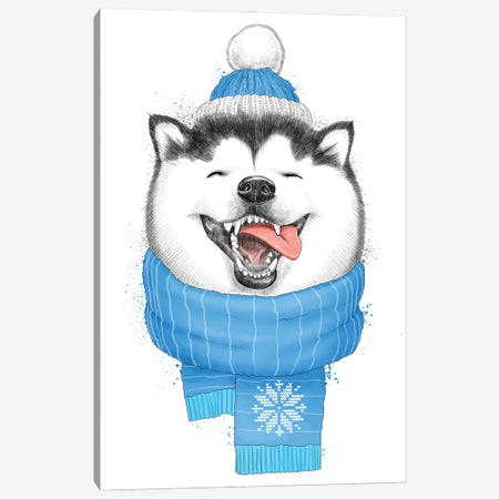 Happy Husky Canvas Print #NKV35} by Nikita Korenkov Canvas Art Print