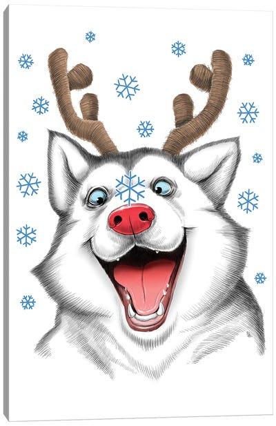 Husky Rudolph Canvas Art Print
