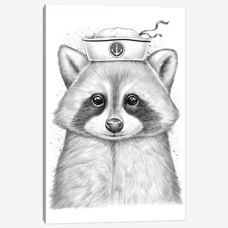 Raccoon Sailor Canvas Print #NKV3} by Nikita Korenkov Canvas Wall Art