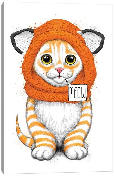 Kitten In A Fox Hat Canvas Art Print