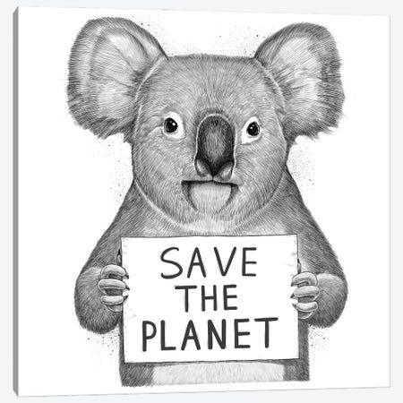 Koala Save The Planet Canvas Print #NKV41} by Nikita Korenkov Canvas Print