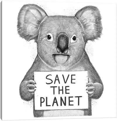 Koala Save The Planet Canvas Art Print