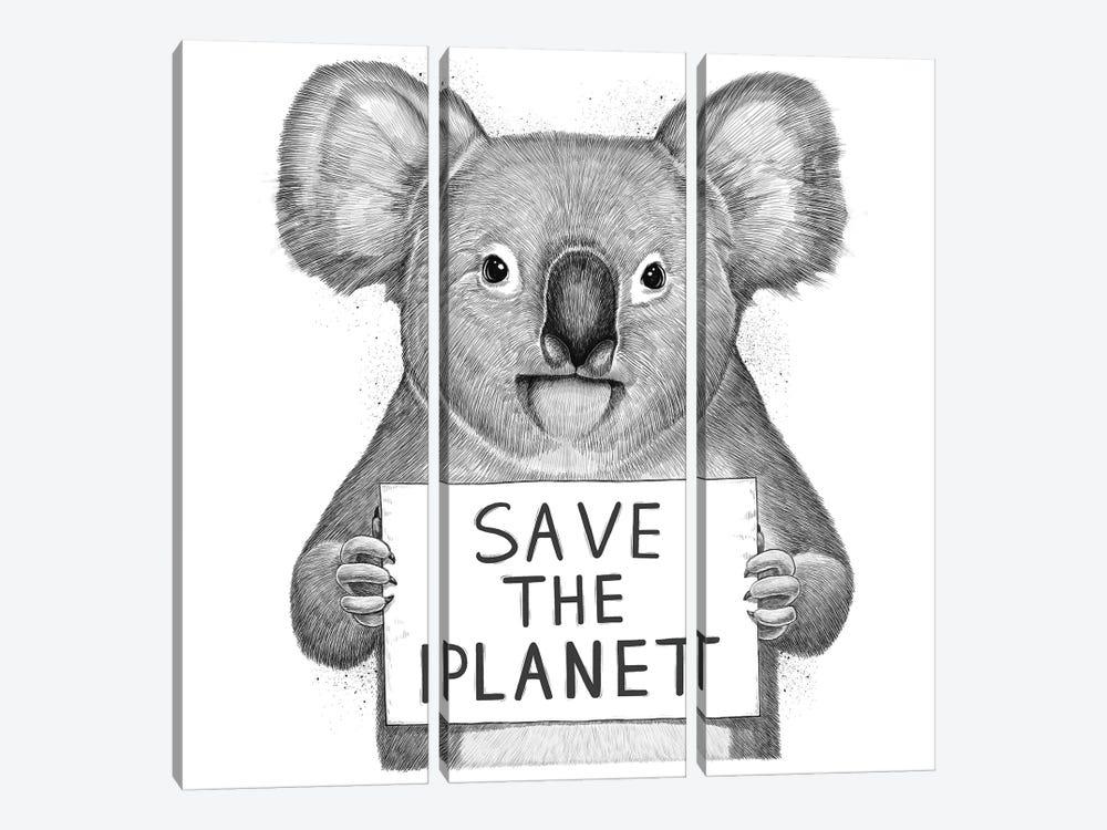 Koala Save The Planet by Nikita Korenkov 3-piece Canvas Artwork