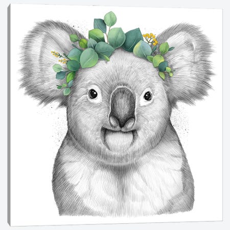 Koala With Eucalyptus Canvas Print #NKV42} by Nikita Korenkov Canvas Print