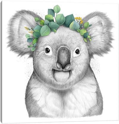 Koala With Eucalyptus Canvas Art Print