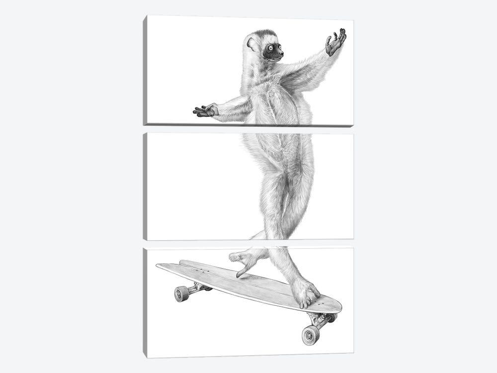 Lemur On The Board by Nikita Korenkov 3-piece Art Print
