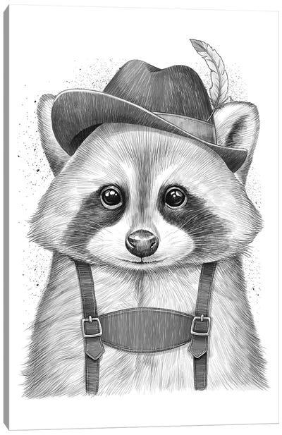 German Raccoon Canvas Art Print