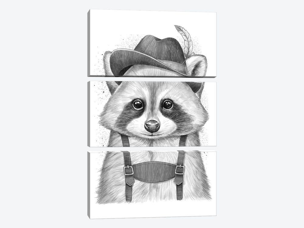 German Raccoon by Nikita Korenkov 3-piece Canvas Print