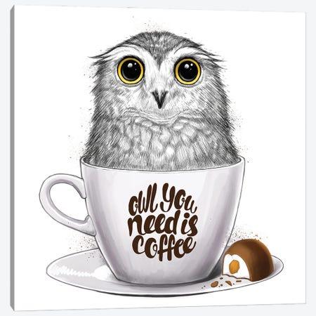 Owl You Need Is Coffee Canvas Print #NKV50} by Nikita Korenkov Canvas Artwork