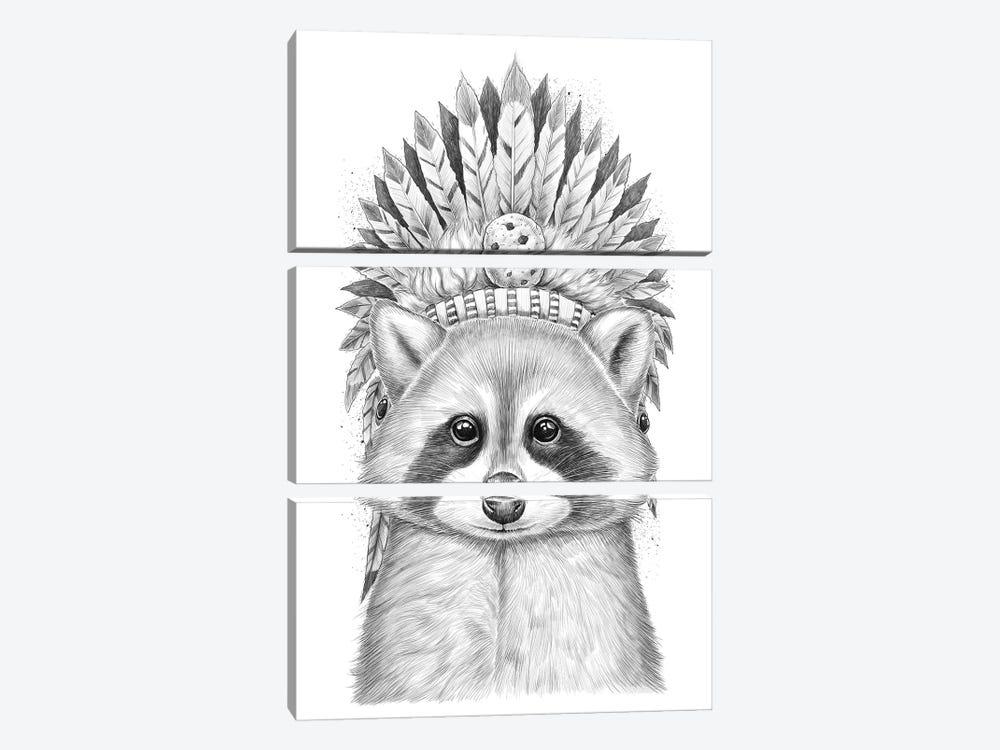 Raccoon Apache by Nikita Korenkov 3-piece Canvas Art Print