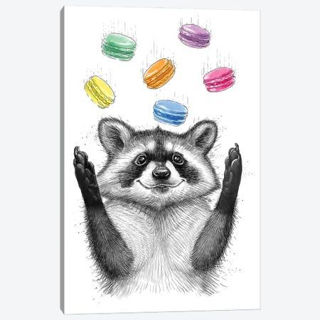 Raccoon And Cookies Canvas Print #NKV56} by Nikita Korenkov Art Print