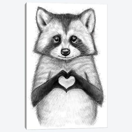 Raccoon With Heart Canvas Print #NKV57} by Nikita Korenkov Canvas Art Print