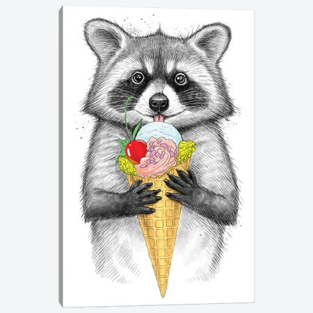 Raccoon With Ice Cream Canvas Print #NKV58} by Nikita Korenkov Canvas Wall Art