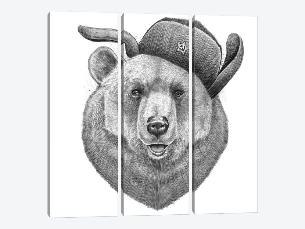 Russian Bear by Nikita Korenkov 3-piece Art Print
