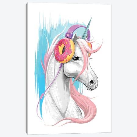 Unicorn In The Headphones Of Donuts Canvas Print #NKV68} by Nikita Korenkov Canvas Art Print