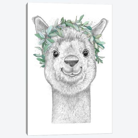 Alpaca With Wreath Canvas Print #NKV6} by Nikita Korenkov Canvas Print