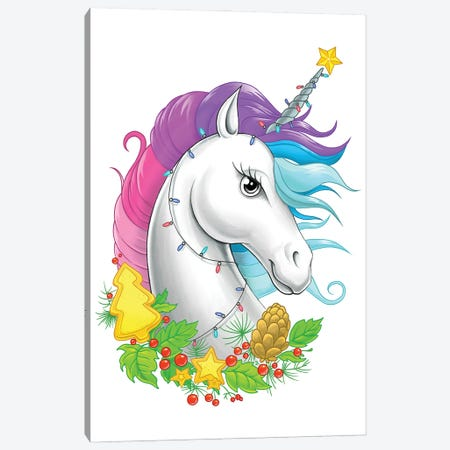Xmas Unicorn Canvas Print #NKV74} by Nikita Korenkov Canvas Print