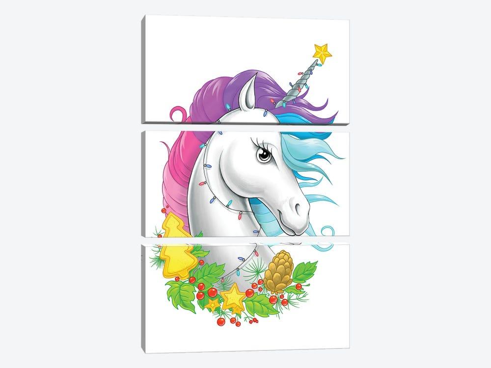 Xmas Unicorn by Nikita Korenkov 3-piece Canvas Art