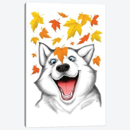 Autumn Husky Canvas Print #NKV7} by Nikita Korenkov Canvas Print