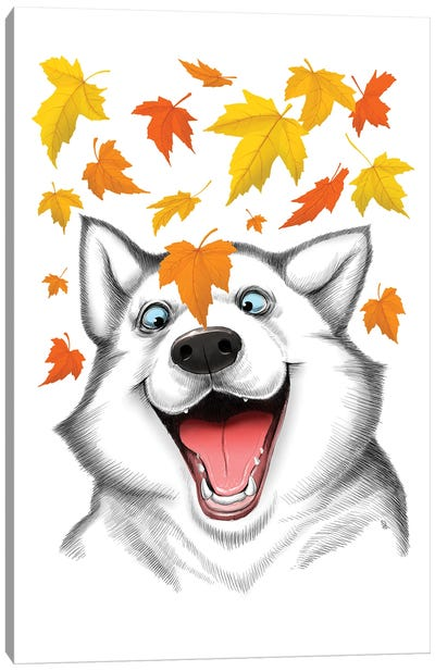 Autumn Husky Canvas Art Print